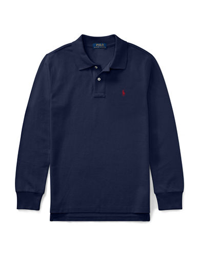Ralph Lauren Childrenswear Long-Sleeve Cotton Mesh Polo-BLUE-Small