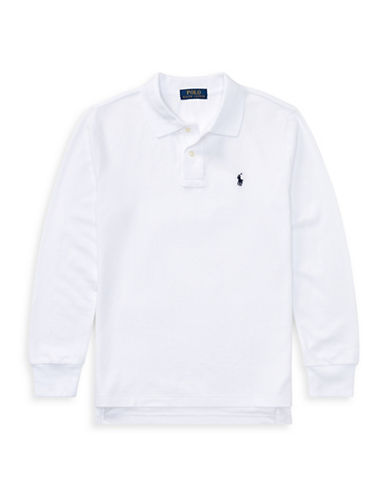Ralph Lauren Childrenswear Long-Sleeve Cotton Mesh Polo-WHITE-Large