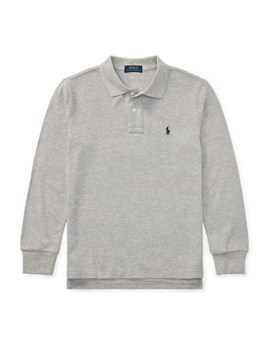 Ralph Lauren Childrenswear Long-Sleeve Cotton Mesh Polo-GREY-Large