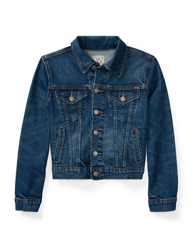 Ralph Lauren Childrenswear Stretch Denim Trucker Jacket-BLUE-Large