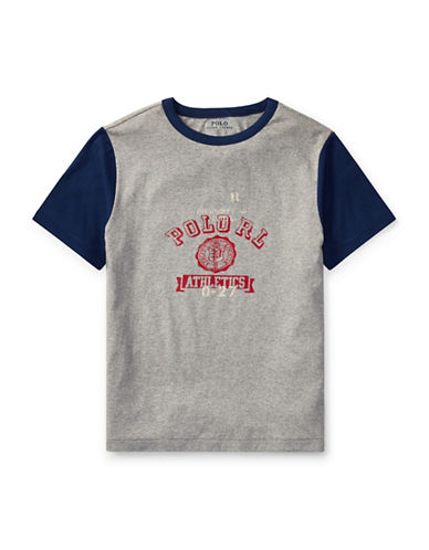 Ralph Lauren Childrenswear Cotton Jersey Ringer T-Shirt-GREY-Medium