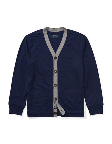 Ralph Lauren Childrenswear Loft Jersey Cardigan-BLUE-Large