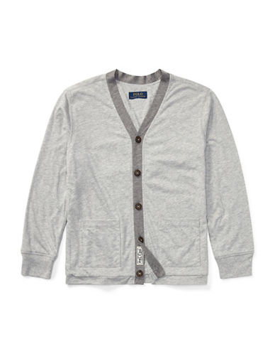 Ralph Lauren Childrenswear Loft Jersey Cardigan-GREY-Large