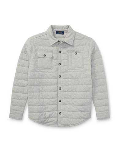 Ralph Lauren Childrenswear Quilted Jersey Shirt Jacket-GREY-X-Large