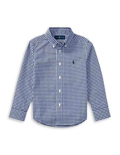 Ralph Lauren Childrenswear Gingham Cotton Poplin Shirt-BLUE-Large