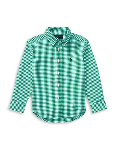Ralph Lauren Childrenswear Gingham Cotton Poplin Shirt-GREEN-Medium