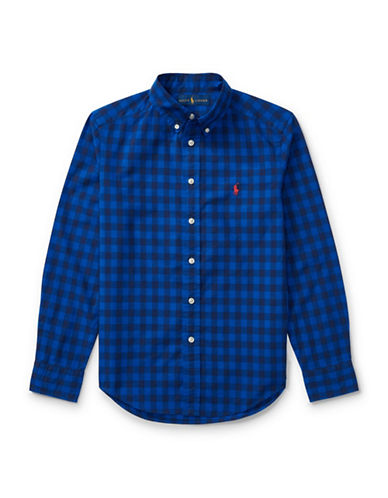 Ralph Lauren Childrenswear Checked Cotton Sport Shirt-BLUE-Large