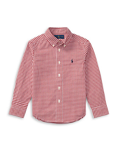 Ralph Lauren Childrenswear Plaid Cotton Poplin Shirt-RED-Small