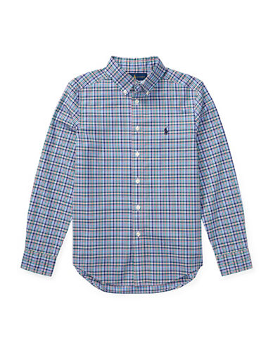 Ralph Lauren Childrenswear Plaid Cotton Poplin Shirt-BLUE-X-Large