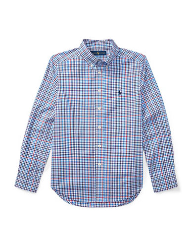 Ralph Lauren Childrenswear Plaid Cotton Poplin Shirt-BLUE MULTI-Small