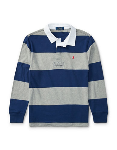 Ralph Lauren Childrenswear Cotton Jersey Rugby Shirt-BLUE-Large