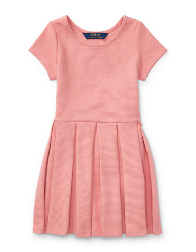 Ralph Lauren Childrenswear Pleated Ribbed Ponte Dress-PINK-5