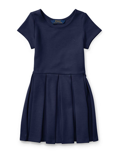Ralph Lauren Childrenswear Pleated Ribbed Ponte Dress-NAVY-5