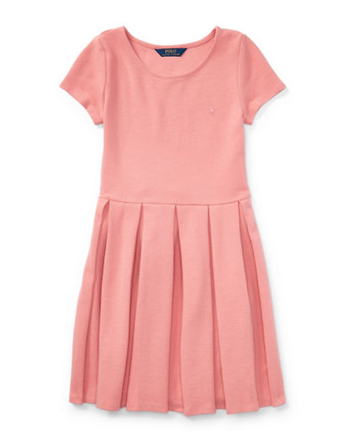 Ralph Lauren Childrenswear Pleated Ribbed Ponte Dress-PINK-X-Large