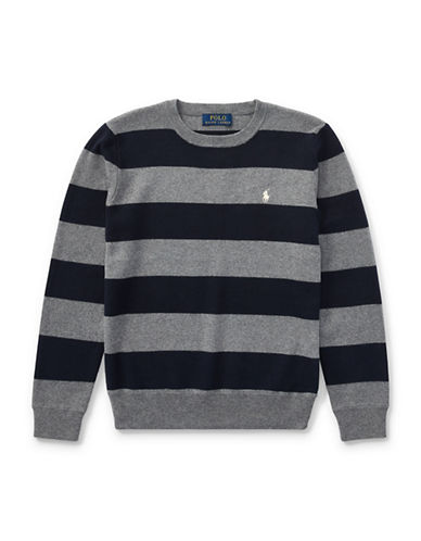 Ralph Lauren Childrenswear Striped Cotton Sweater-GREY-Medium