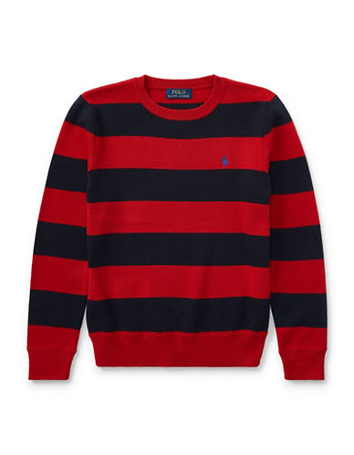 Ralph Lauren Childrenswear Striped Cotton Sweater-RED-Medium
