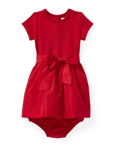 Ralph Lauren Childrenswear Fit-and-Flare Dress and Bloomer Two-Piece Set-RED-24 Months