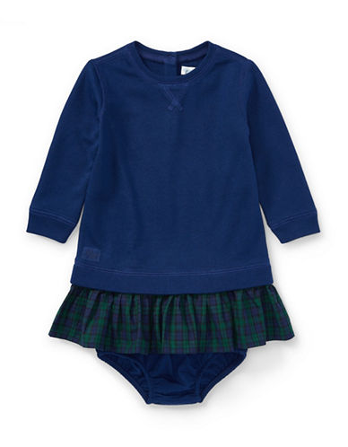 Ralph Lauren Childrenswear Fleece Dress and Bloomer Two-Piece Set-BLUE-3 Months