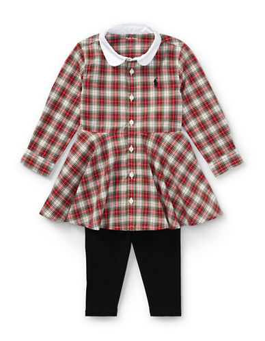 Ralph Lauren Childrenswear Plaid Shirtdress and Legging Two-Piece Set-RED-18 Months