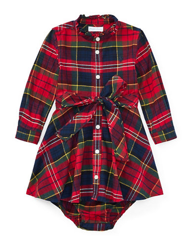 Ralph Lauren Childrenswear Tartan Flannel Dress and Bloomer-RED-12 Months