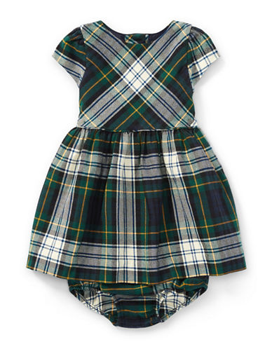 Ralph Lauren Childrenswear Tartan Flannel Dress and Bloomer-BLUE-3 Months