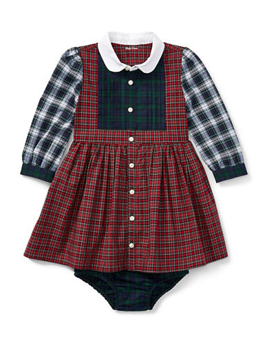 Ralph Lauren Childrenswear Tartan Poplin Dress and Bloomer-BEIGE-18 Months