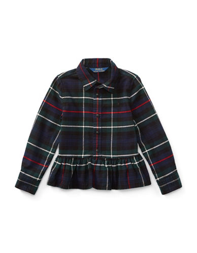 Ralph Lauren Childrenswear Tartan Cotton Peplum Shirt-RED-2