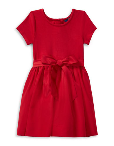 Ralph Lauren Childrenswear Fit-and-Flare Dress and Bloomer-RED-2