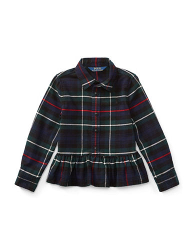 Ralph Lauren Childrenswear Tartan Cotton Peplum Shirt-ASSORTED-5