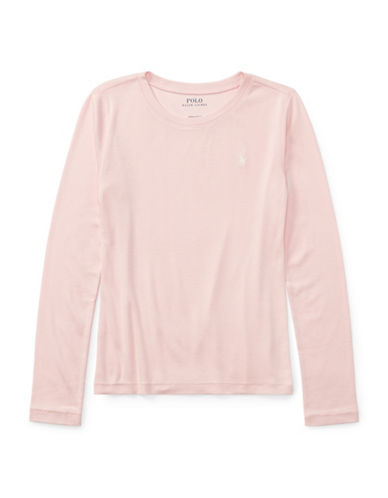 Ralph Lauren Childrenswear Girls Pony Long-Sleeved Tee-PINK-Medium