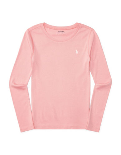 Ralph Lauren Childrenswear Pima Crewneck Tee-PINK-Small