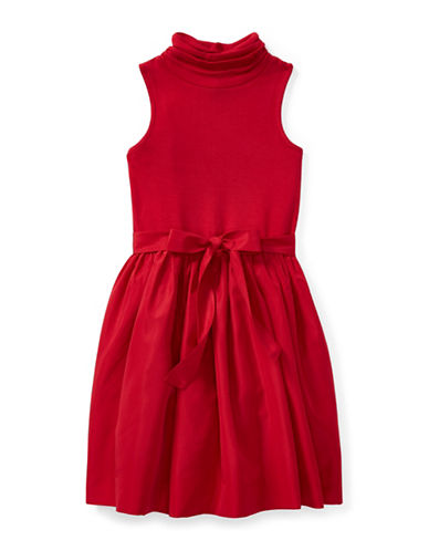 Ralph Lauren Childrenswear Fit-and-Flare Turtleneck Dress-RED-Large