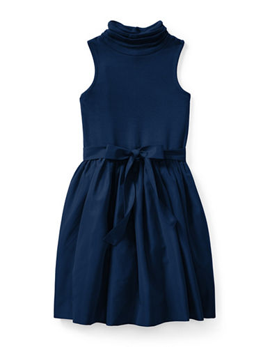 Ralph Lauren Childrenswear Fit-and-Flare Turtleneck Dress-BLUE-X-Large
