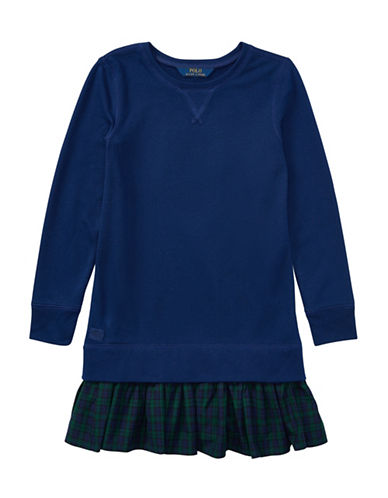 Ralph Lauren Childrenswear Ruffled Hem Fleece Sweatshirt Dress-BLUE-Large