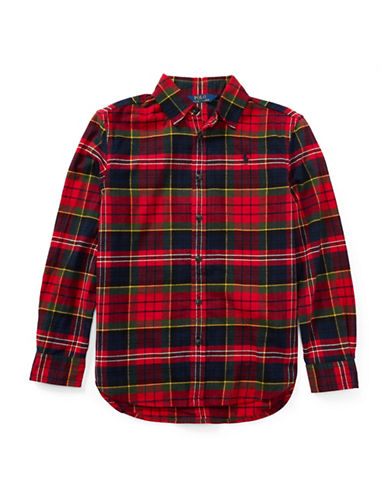 Ralph Lauren Childrenswear Tartan Cotton Flannel Shirt-RED-7