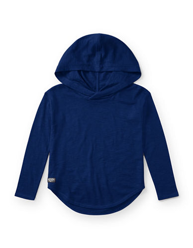 Ralph Lauren Childrenswear Hi-Lo Cotton Hooded Pullover-BLUE-Small