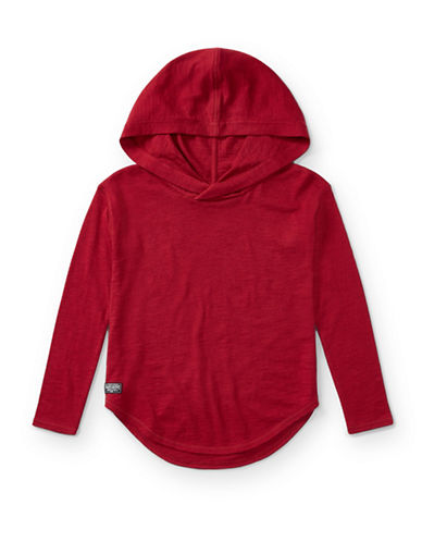 Ralph Lauren Childrenswear Hi-Lo Cotton Hooded Pullover-RED-Small