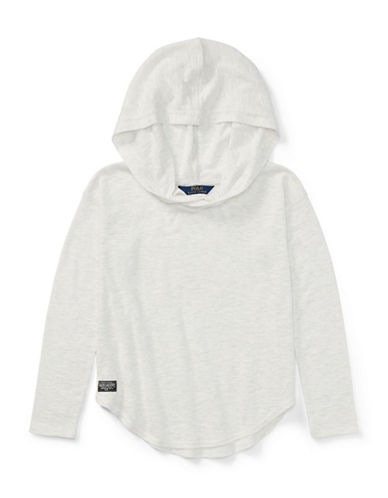 Ralph Lauren Childrenswear Hi-Lo Cotton Hooded Pullover-WHITE-Large 89513806_WHITE_Large