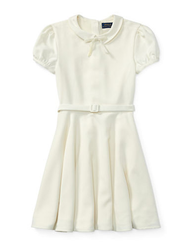 Ralph Lauren Childrenswear Belted Fit-and-Flare Dress-CREAM-12