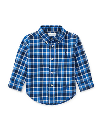 Ralph Lauren Childrenswear Plaid Cotton Twill Shirt-BLUE-6 Months