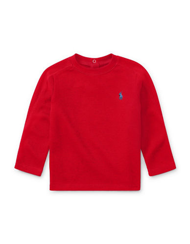 Ralph Lauren Childrenswear Waffle Cotton-Blend Shirt-RED-24 Months