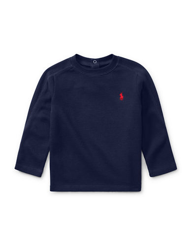 Ralph Lauren Childrenswear Waffle Cotton-Blend Shirt-BLUE-12 Months