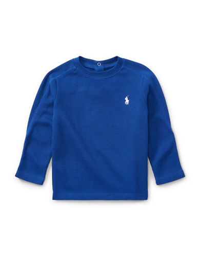 Ralph Lauren Childrenswear Waffle Cotton-Blend Shirt-BLUE-18 Months