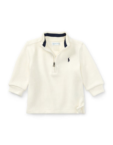 Ralph Lauren Childrenswear French-Rib Half-Zip Pullover-NATURAL-24 Months