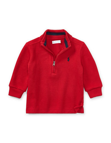 Ralph Lauren Childrenswear French-Rib Half-Zip Pullover-RED-12 Months