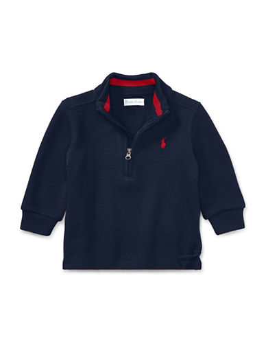 Ralph Lauren Childrenswear French-Rib Half-Zip Pullover-BLUE-24 Months