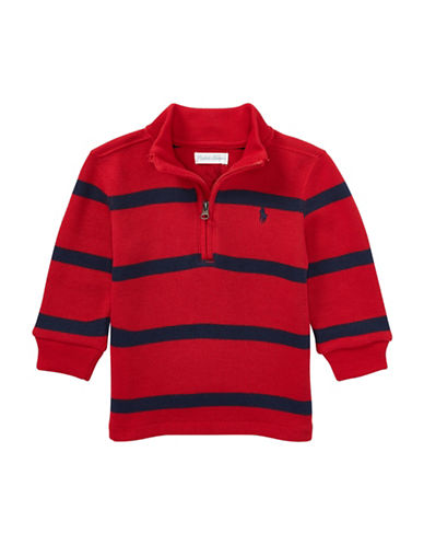 Ralph Lauren Childrenswear Striped French-Rib Pullover-RED-12 Months
