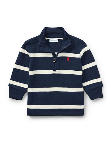 Ralph Lauren Childrenswear Striped French-Rib Pullover-BLUE-18 Months