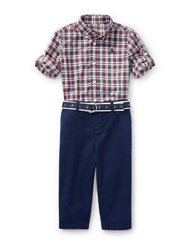Ralph Lauren Childrenswear Tartan Shirt and Chino Pants Two-Piece Set-RED-6 Months