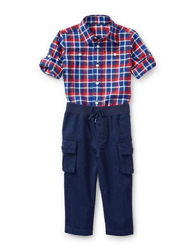 Ralph Lauren Childrenswear Shirt, Pant and Belt Set-RED-6 Months